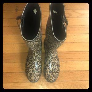 Cute leopard print rain boots